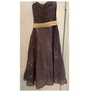 Anthropologie brown midi dress